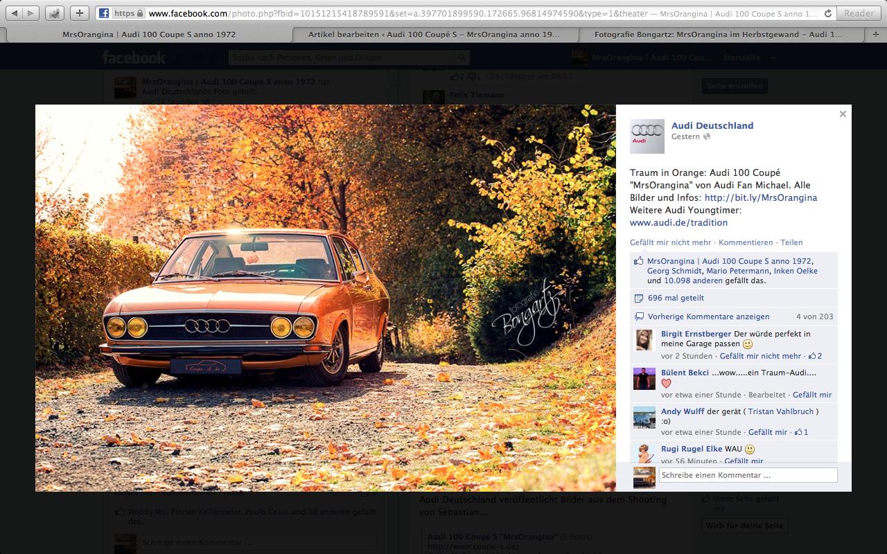 17.500 Facebook Likes für Audi 100 Coupe S!