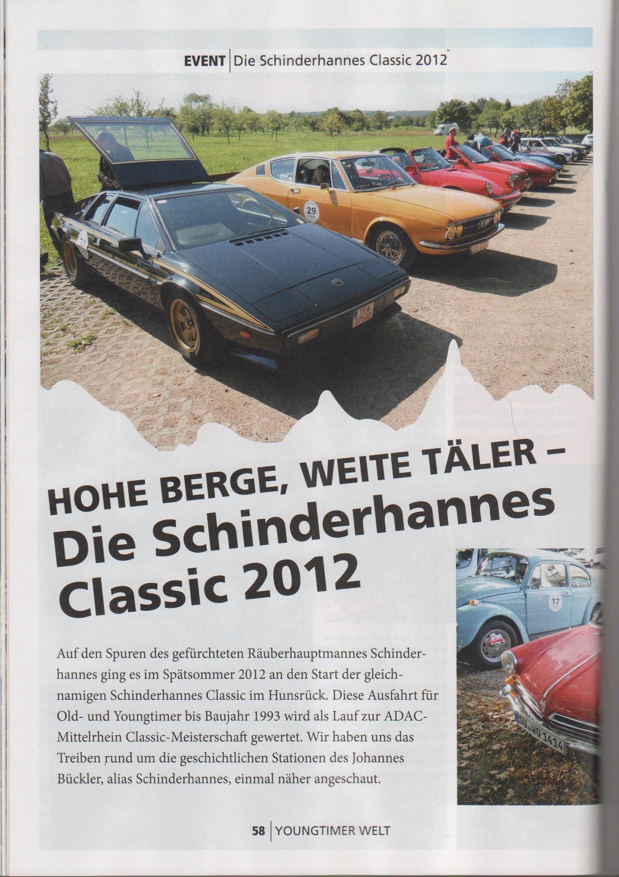 Schinderhannes Classic 2012, ein On Tour – Bericht in der Youngtimer Welt 2-2013